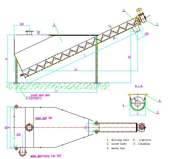Креслення і розміри установки cепаратору піску WSF